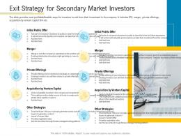 Exit Strategy For Secondary Market Investors Financial Market Pitch Deck Ppt Information
