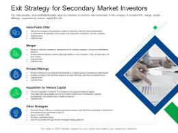 Exit Strategy For Secondary Market Investors Investor Pitch Presentation Raise Funds Financial Market