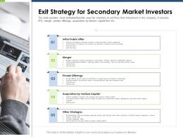 Exit Strategy For Secondary Market Investors Pitch Deck Raise Funding Post IPO Market Ppt Show Examples