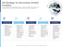 Exit Strategy For Secondary Market Investors Raise Funds After Market Investment Ppt Designs