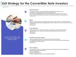 Exit Strategy For The Convertible Note Investors Convertible Debt Financing Ppt Icons