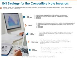 Exit Strategy For The Convertible Note Investors Ppt Powerpoint Presentation Infographic