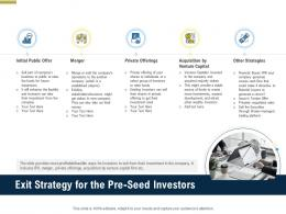 Exit Strategy For The Pre Seed Investors Pitch Deck Raise Funding Pre Seed Money Ppt Download