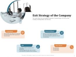 Exit Strategy Of The Company Dont Know Ppt Powerpoint Presentation Professional Deck