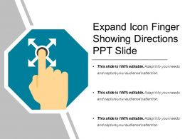 Expand Icon Finger Showing Directions Ppt Slide