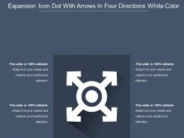 Expansion Icon Dot With Arrows In Four Directions White Color