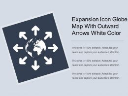 Expansion Icon Globe Map With Outward Arrows White Color