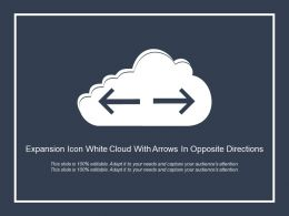 Expansion Icon White Cloud With Arrows In Opposite Directions