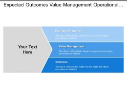 Expected Outcomes Value Management Operational Improvement Proposed Actions
