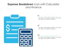 Expense Breakdown Icon With Calculator And Finance