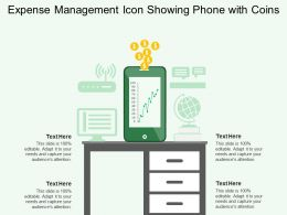 Expense Management Icon Showing Phone With Coins