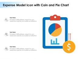 Expense Model Icon With Coin And Pie Chart