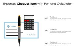 Expenses Cheques Icon With Pen And Calculator