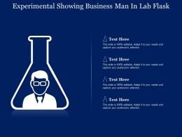 Experimental Showing Business Man In Lab Flask
