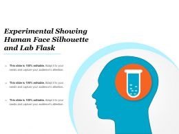 Experimental Showing Human Face Silhouette And Lab Flask