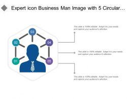 Expert Icon Business Man Image With 5 Circular Points