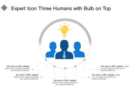 Expert Icon Three Humans With Bulb On Top