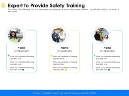 Expert To Provide Safety Training Specialist Ppt Powerpoint Presentation File Icons