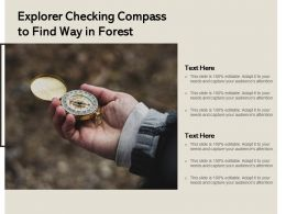 Explorer Checking Compass To Find Way In Forest