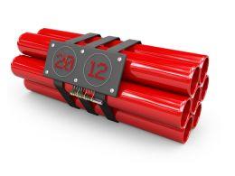 Explosives With Timer Detonator Stock Photo