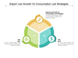 Export Led Growth Vs Consumption Led Strategies Ppt Powerpoint Presentation Model Files Cpb