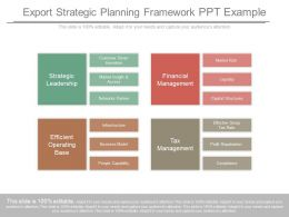 Export Strategic Planning Framework Ppt Example