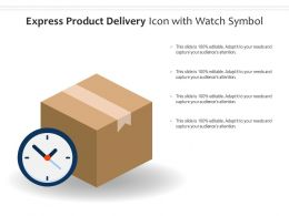 Express Product Delivery Icon With Watch Symbol