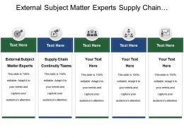 External Subject Matter Experts Supply Chain Continuity Teams