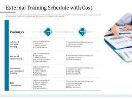 External Training Schedule With Cost Bank Operations Transformation Ppt Infographic Template Vector
