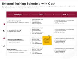 External Training Schedule With Cost Ppt Powerpoint Presentation Ideas Icon