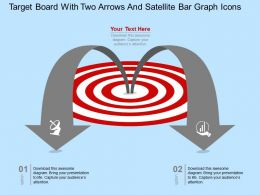 Ey Target Board With Two Arrows And Satellite Bar Graph Icons Flat Powerpoint Design