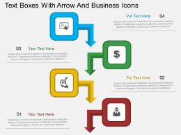 ey Text Boxes With Arrow And Business Icons Flat Powerpoint Design