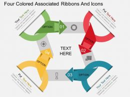 ez Four Colored Associated Ribbons And Icons Flat Powerpoint Design