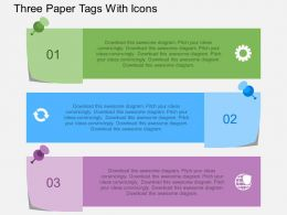 ez Three Paper Tags With Icons Flat Powerpoint Design