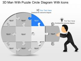 fa 3d Man With Puzzle Circle Diagram With Icons Powerpoint Template