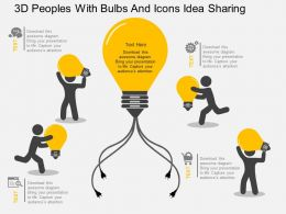 fa 3d Peoples With Bulbs And Icons Idea Sharing Flat Powerpoint Design
