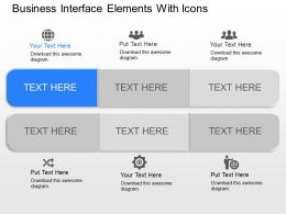 fa Business Interface Elements With Icons Powerpoint Template