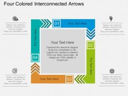 fa Four Colored Interconnected Arrows Flat Powerpoint Design