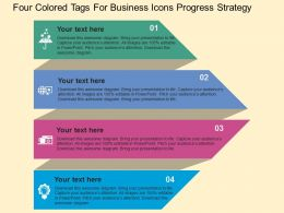 Fa Four Colored Tags For Business Icons Progress Strategy Flat Powerpoint Design