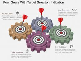 fa Four Gears With Target Selection Indication Powerpoint Template