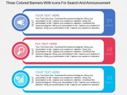 Fa Three Colored Banners With Icons For Search And Announcement Flat Powerpoint Design