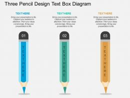 fa Three Pencil Design Text Box Diagram Flat Powerpoint Design