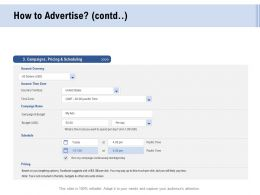 Facebook Advertising How To Advertise Campaigns Ppt Powerpoint Presentation Pictures Gridlines