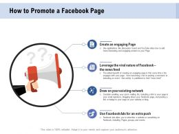 Facebook Advertising How To Promote A Facebook Page Ppt Powerpoint Presentation Summary