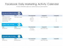 Facebook Daily Marketing Activity Calendar