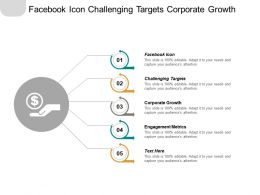 Facebook Icon Challenging Targets Corporate Growth Engagement Metrics Cpb