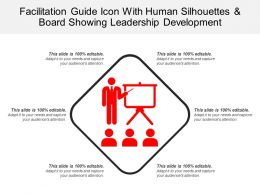 Facilitation Guide Icon With Human Silhouettes And Board Showing Leadership Development