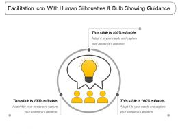 Facilitation Icon With Human Silhouettes And Bulb Showing Guidance
