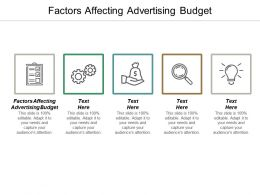 Factors Affecting Advertising Budget Ppt Powerpoint Presentation Infographic Template Show Cpb