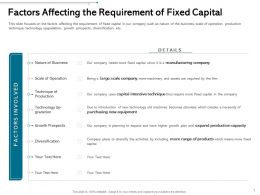 Factors Affecting The Requirement Of Fixed Capital Range Ppt Powerpoint Layouts